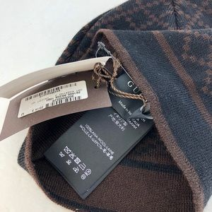 Gucci Accessories - Gucci Men s Wool Diamante Black Brown Beanie Hat 0a1580238d5e